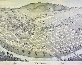 El Paso 1885 Antique Map El Paso, Texas. Bird's Eye View - MAP PRINT