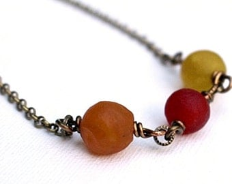 Recycled Glass Bead Necklace Red Orange Yellow Beaded Jewelry Short Boho Chic Chunky Rustic Round