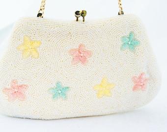 Clutch - White Starfish Hand Beaded Pastel Evening Bag