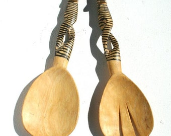 Wooden Salad Servers from Africa with Zebra design.