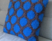 Knit Pillow, Knitted Cushion, UK Seller, Circles, Grey Pillow, Electric Blue, Teenagers Room