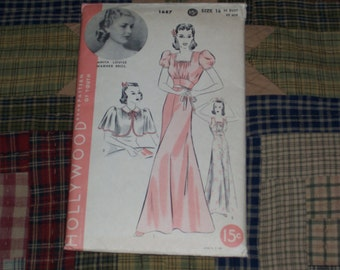 1930s Hollywood Pattern 1687..Lingerie Nightgown & Bed Jacket  Fashion...Anita Louise Movie Star Featured...Nightdress...Size 16..Bust 34