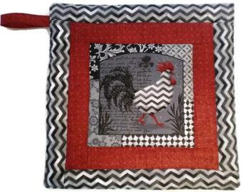 Rooster Pot Holder, Wedding Gift, Hostess Gift, Gift for Baker, House Warming Gift, Fabric Pot Holder, Red/Gray Chevron Pot Holder
