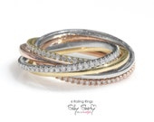 Tricolor - 6 Rolling Diamond Rings. Made from solid gold, unique handmade gold and diamond ring, unique wedding ring