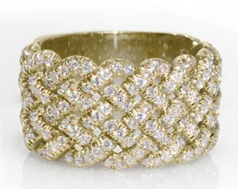Braided Wedding Band, 14K Gold Ring, 1.2 CT Pave Wedding Band, Wide Diamond Band, Unique Diamond Wedding Ring, Woven Ring