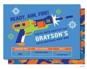Nerf Gun Birthday Invitations, Dart Wars Invitation, Gun Battle Invitation, War Invitations, Nerf Gun Party, Nerf