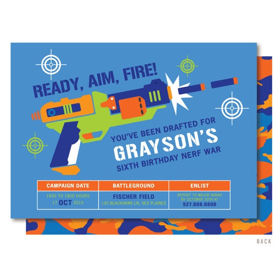 Nerf War Party Invitations was Elegant Template To Create Inspiring Invitation Sample