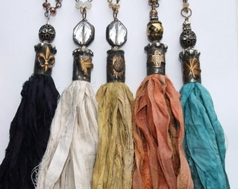 Soldered Bullet Bead Cap Bohemian Sari Silk Tassel in Black Ivory Sunflower peach and Teal Necklace soldered clear crystal Rosary Chain Bead