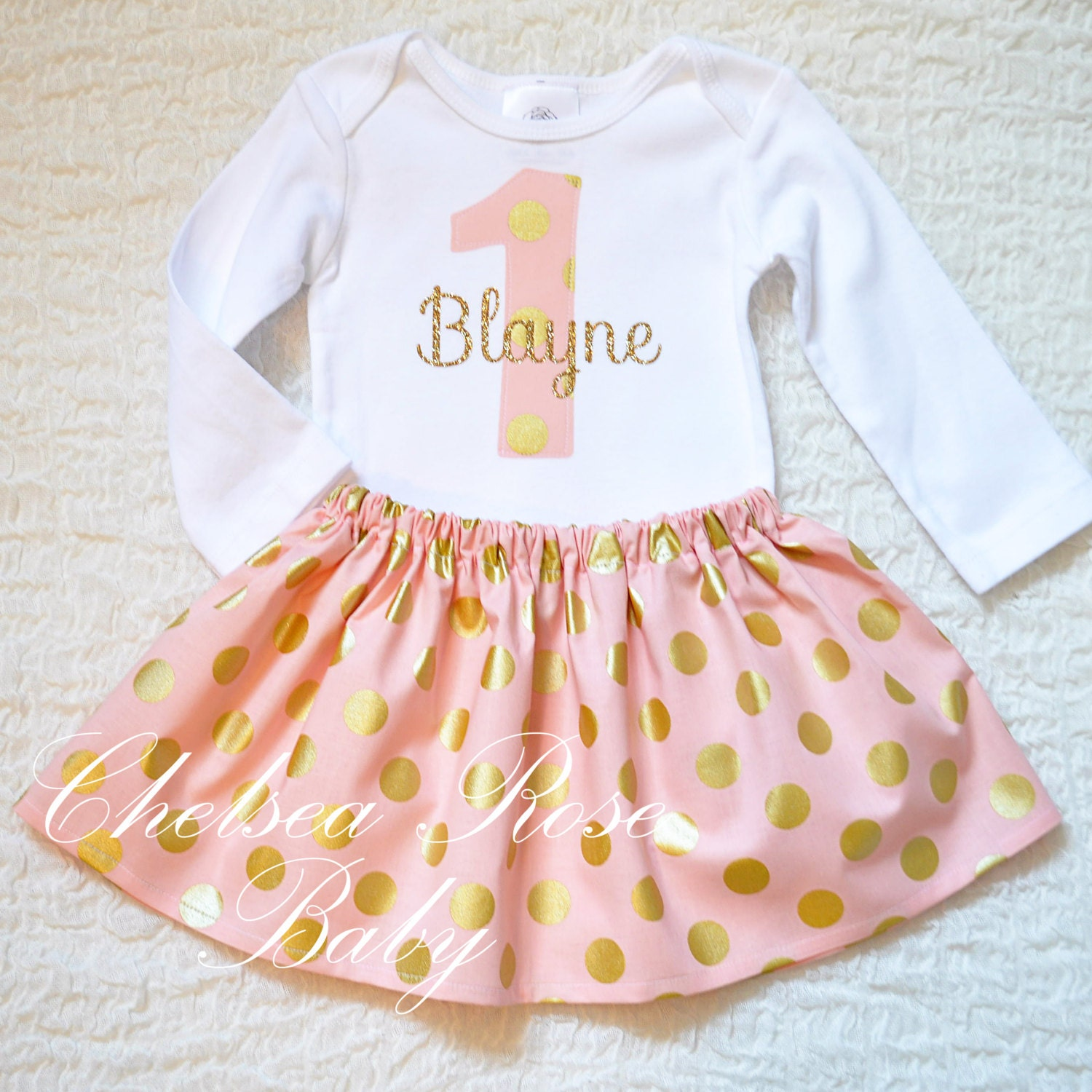 Pink and gold birthday outfit first birthday set shabby chic - Shabby chic outfit ideas ...