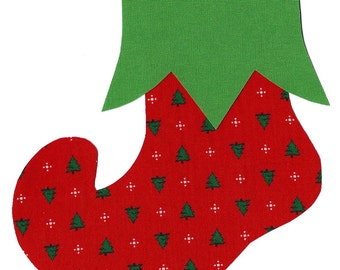 Christmas stocking whimsical iron on fabric applique DIY