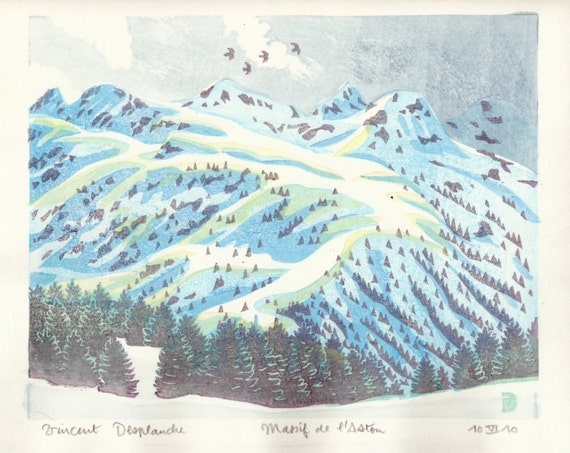 Montagne d'Aston - French Pyrenees mountains, hand pulled moku hanga woodblock print