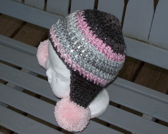 Hat,Crocheted,Girl,Baby,Infant,Newborn,Three Months,Pom Poms,Earflaps,Gift,Photos,Pink,Gray,Brown