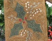 Goos Nest Mistletoe and Holly Punchneedle Embroidery Pattern