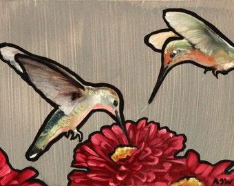 Original Hummingbird Oil Painting 5x7