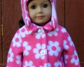 Handmade American Girl Pink and White Daisy Fleece Coat and Hat Set