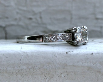 Vintage Platinum Diamond Engagement Ring - 0.71ct.