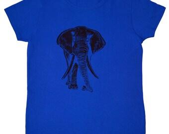 Elephant Screen Printed Women's T-Shirt S M L XL 2XL Animal Shirt