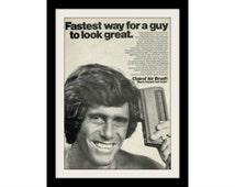 "1971 Clairol Air Brush Hair Ad ""Real Guys"" Vintage Advertisement Salon Decor Print"