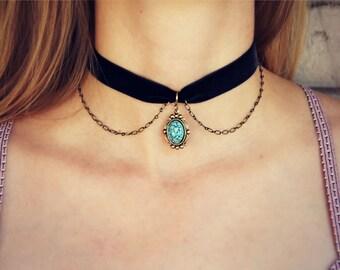 turquoise choker, velvet choker, turquoise necklace, short necklace, hippie necklace, 90s fashion