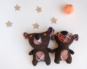 Art toy Stuffed Teddy Bear -Tweed wool & plaid- Stuffed animal, Plush Bear, Soft Sculpture