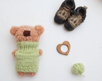 Stuffed Bear Teddy, Stuffed animal, Plush Bear, Soft Sculpture Crochet Bear Doll,
