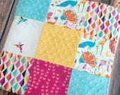 READY TO SHIP Origami Safari Baby Girl Blanket Minky Michael Miller Pink Yellow Aqua Orange White Carseat Stroller Blanket