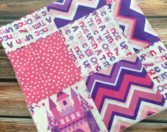 READY TO SHIP Princess Castle Baby Girl Blanket Minky Michael Miller Pink Purple White Chevron Castles Dots White Carseat Stroller Blanket
