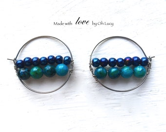 Royal Blue Metallic and Turquoise Bead Earrings on Steel Hoops Hypoallergenic 32mm