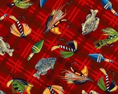 Snuggle Flannel Fabric - Fishing Lures on Plaid - 3/8ths Yard