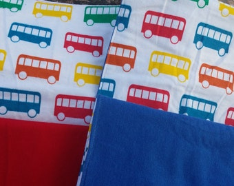 Set of 2 Primary colors buses burp cloths