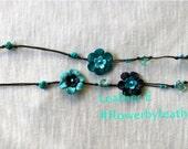 Pat's leather flower lariat - three tone blue