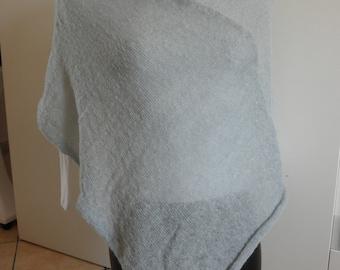 Light blue poncho mohair wool yarn soft warm lightweight for woman