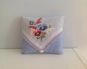 Sweet Cottage Hankie Pillow -Handmade with all  Vintage Materials