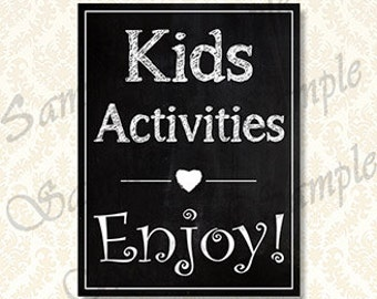Kids Activities Sign, Chalkboard Wedding Kids Table Sign, Printable Reception Kids Activities Signage, Children's Party Activity, 00121