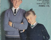Patons School Days Special Knitting Pattern No 743 Vintage 1960s, Boys and Girls Jumpers, Sweaters, Pullovers, Cardigans