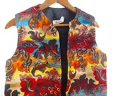 Bohemian 70s Vest Women Vintage Tapestry Floral