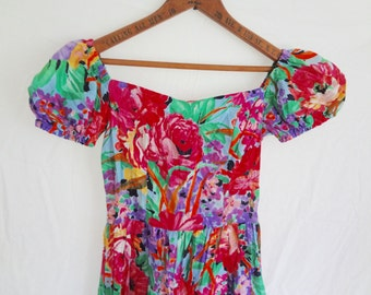 Vintage Tween Girl Dress 80s Off-the shoulder Floral with pockets Size 14 or 4P petite