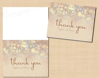French Champagne Sparkles Thank You Cards (Fold to 5.5x4.25): Text-Editable, Printable, Instant Download