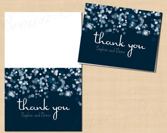 Sparkly Stars on Water Thank You Cards (Fold to 5.5x4.25): Text-Editable, Printable, Instant Download