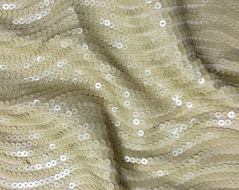 Fat Quarter Gold Sequin Waves Bridal Fabric for Decors