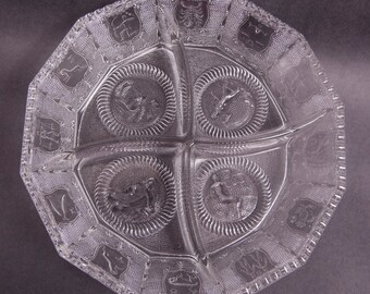 Vintage Zodiac Glass Bowl Relish Tray Imperial Glass Divided Dish Heavy Clear Glass 12 Zodiac Signs Scalloped Edge