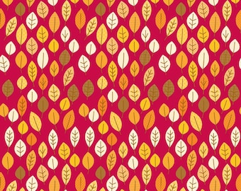 Riley Blake Cotton fabric by the yard... Harvest Leaves Red