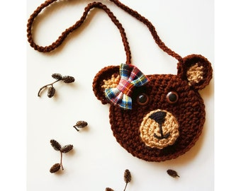 Betsy Bear crochet purse, bear purse, purse, toddler purse, crochet purse, animal purse, woodland, camping, plaid