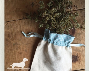 CLEARANCE! Set of 4 Mint Blue Plaid 5x7 Muslin Bags -- (Vintage-Style, Rustic, Gingham, Tartan, Shabby Chic, Wedding, Baby Shower Favor)