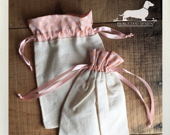 CLEARANCE! Set of 4 Peach Plaid 5x7 Muslin Bags -- (Vintage-Style, Rustic, Coral, Gift Wrap, Gingham, Shabby Chic, Cute Bridal Shower Favor)