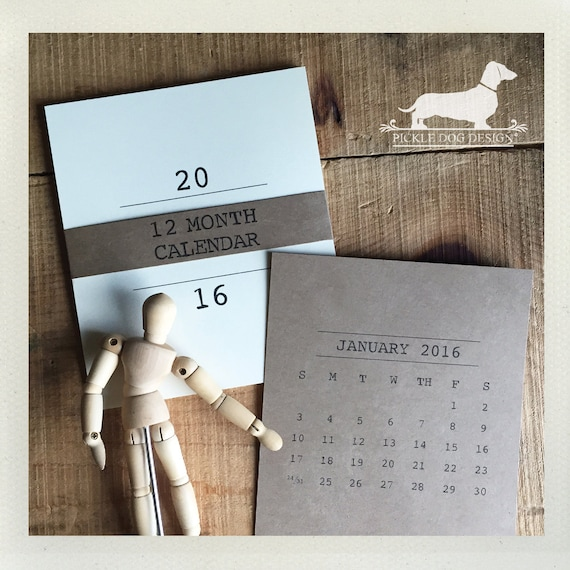 Minimalist Calendar 2016 : Minimalist desktop calendar by pickledogdesign on etsy