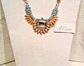 """Statement Necklace:Rhinestones,Salmon & Blue Glass Gems,White satin twisted Chord, Gold Tone,  expandable, """"Sunset  Dream"""",Vintage Inspired"""