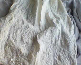 Cream White Shawl Scarf Wrap Felted cobweb Shawl, Merino Wool Scarf, Winter Accessories,Warm Scarf, Felt Accessories,