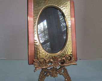 Vintage 2 piece dresser brass and copper tone metal photo frame with brass ornate easel