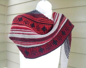 Navajo Sunset Asymetrical Scarf PDF Knitting Pattern